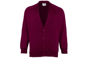 Maddins Childrens Unisex Coloursure Cardigan / Schoolwear (Burgundy) (24)