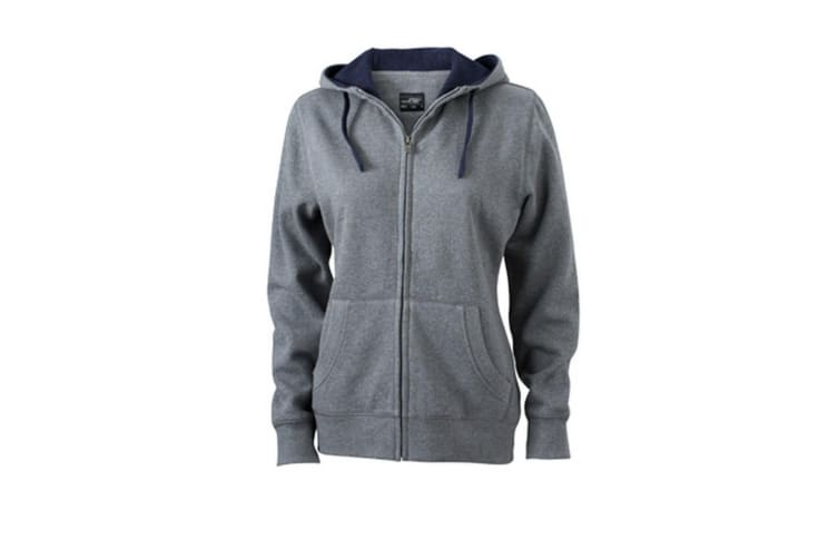 James and Nicholson Womens/Ladies Lifestyle Zip-Hoodie (Grey Melange/Navy) (XL)