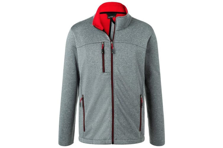 James and Nicholson Mens Fleece Lined Softshell Jacket (Dark Grey Melange/Red) (M)