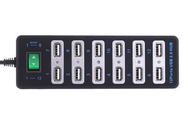 12 Port Usb Hub Hi Speed 2.0 480Mbps Plug & Play Windows Mac Linux Usb Hub