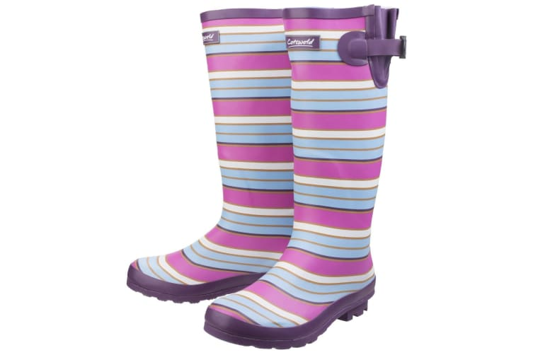 Cotswold Womens/Ladies Wadeberry Striped Wellington Boots (Berry/Multi) (3 UK)