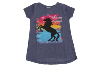 Childrens Girls Unicorn Squad T-Shirt (Denim Marl)