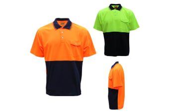 HI VIS Safety Work Wear Polo Shirt Cool Dry Breathable Short Sleeve Top Two Tone - Orange | Yellow