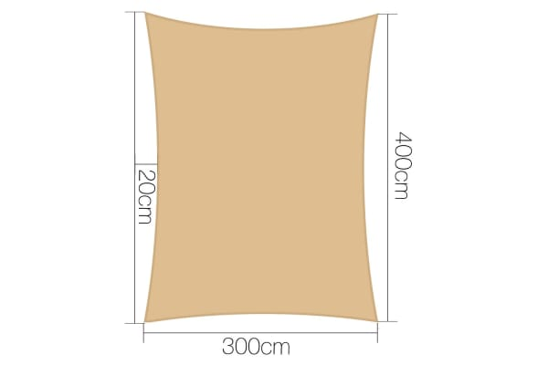 Waterproof Heavy Duty 280GSM Shade Sail Canopy 3 x 4 M (Sand)
