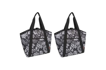 2PK Sachi 48cm Insulated Thermal Cooler Shopping Carry Picnic Bag Camellia Black