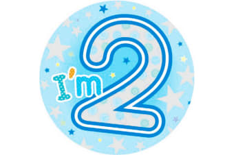Expression Factory Childrens Boys I Am 2 Today Giant Badge (Blue)