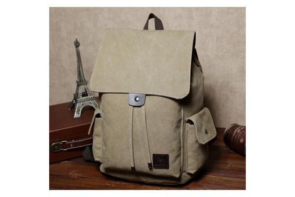 "Colour Pack Canvas Series 15.6"" Notebook Laptop School travel canvas Backpack -Khaki Brown"