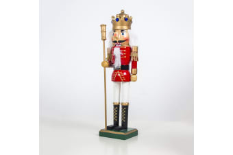 "38cm 15"" Christmas Wooden Nutcracker Soldier Guard Figure Statue Puppet Toy Gift - King (B)"
