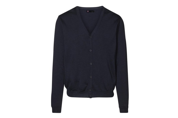 ID Mens Fitted Button Up Cardigan (Navy) (XL)