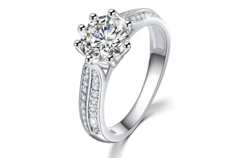 .925 My Only Sunshine Solitaire Ring-Silver/Clear   Size US 6