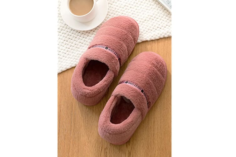 Unisex Comfy Fuzzy Knit Cotton Memory Foam House Shoes Slippers - Leather Red Red 38-39