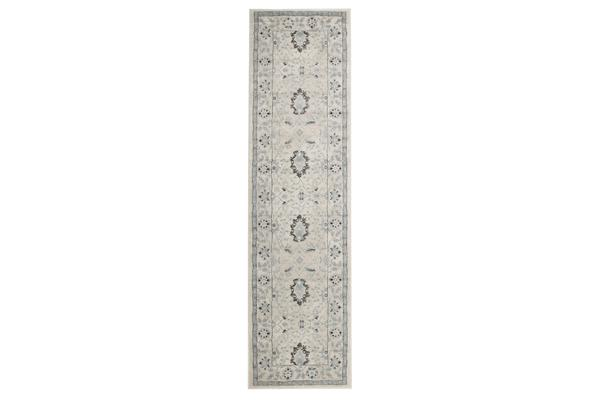 Nain Persian Design Rug Bone Blue Navy 300x80cm