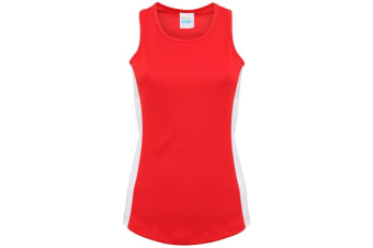 AWDis Just Cool Womens/Ladies Girlie Contrast Panel Sports Vest Top (Fire Red/Arctic White)