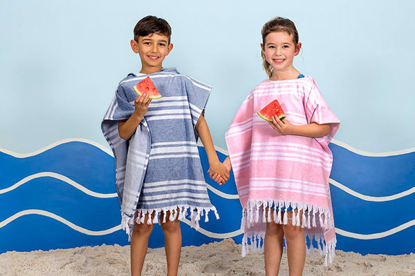 Bambury Turkish Towel Kids Poncho - Melon