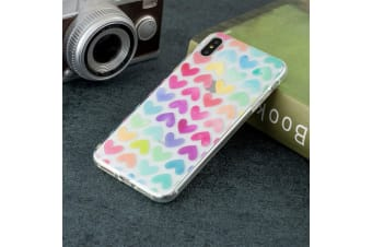 For iPhone XS Max Case Colored Hearts TPU Protective Back Cover