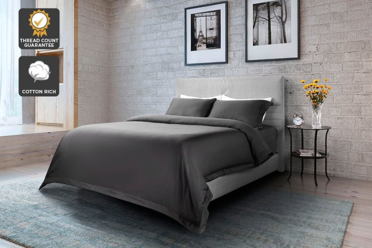 Ovela 1000TC Cotton Rich Luxury Quilt Cover Set (Queen, Charcoal)