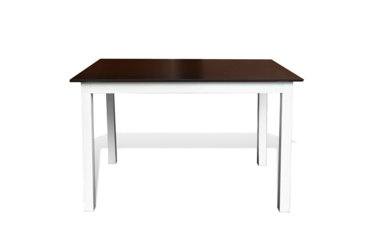vidaXL Dining Table 110 cm Solid Wood Brown and White