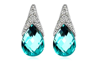 Gizelle Earrings w/Swarovski Crystals-White Gold/Blue
