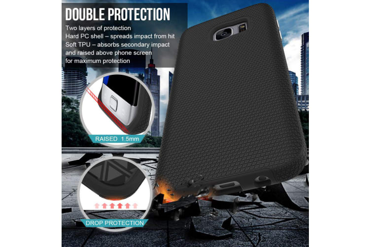 For Samsung Galaxy S7 EDGE Case Black Armor Shockproof Protective Phone  Cover