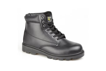 Grafters Mens Padded Leather Safety Boots (Black) (11 UK)