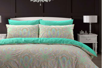 Style & Co 100 % Cotton Reversible Quilt Cover Set (King, Paisley Damask)