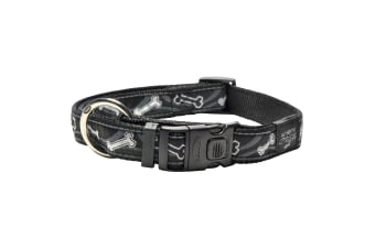 Rogz Graphic Adjustable Dog Collar (Black Bone) (10-16in)
