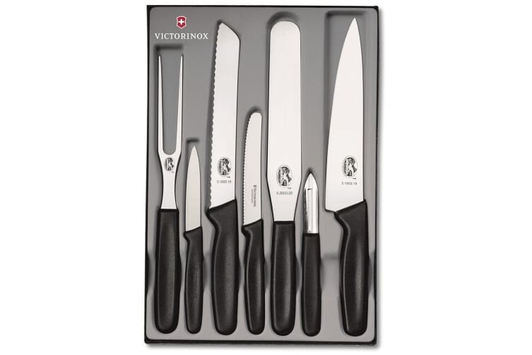 Victorinox Black Kitchen Knife 7 Set Bread Paring Knives Fork Spatula Peeler