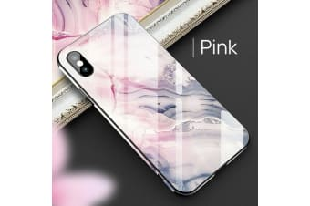 Shockproof Tough Glass Marble Soft Cover For iPhone X-Pink