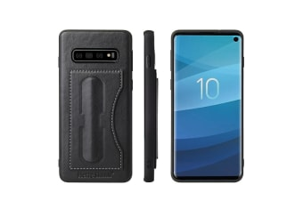 For Samsung Galaxy S10 PLUS Case  Black Luxury Leather Kickstand Wallet Cover