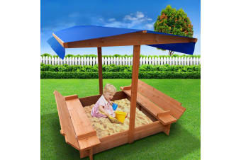 Keezi Kids Sandpit Toy Box Sand Pit Wooden Outdoor Play Children Play Cover