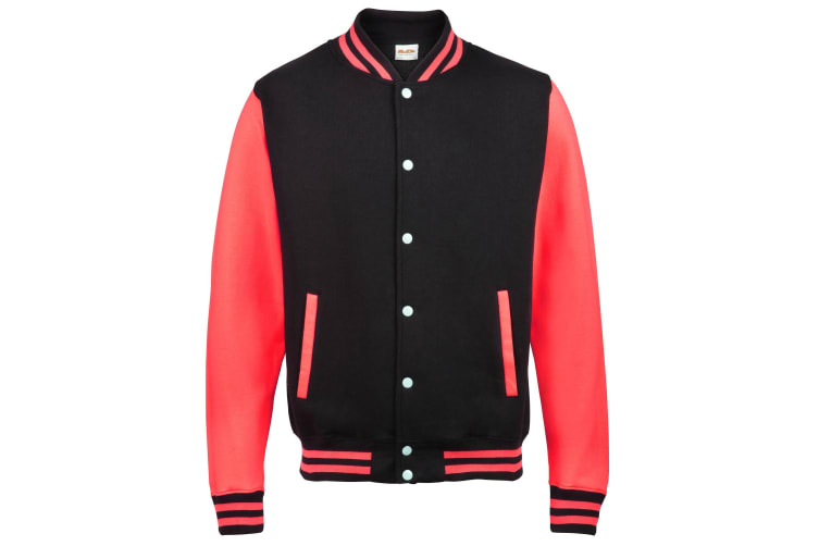 Awdis Kids Unisex Varsity Jacket / Schoolwear (Jet Black/ Fire Red) (7-8)