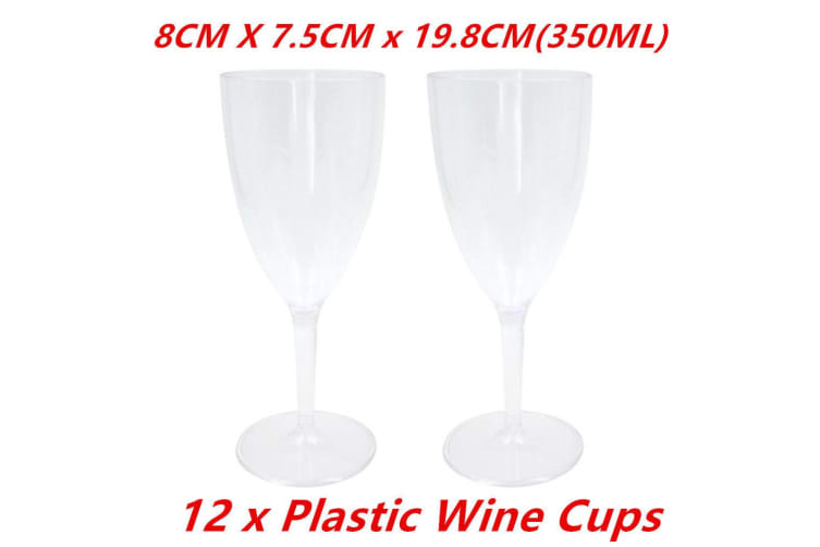 12 x Plastic Wedding Party Wine Glasses Glass Cups Cup 350ml Reusable Disposable