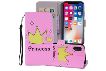 For iPhone XS MAX Cover Leather Folio Wallet Card Slots Mobile Phone Case Crown