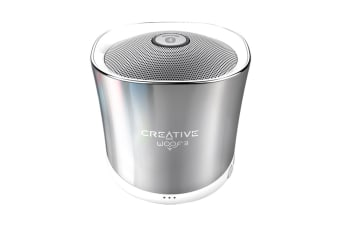 Creative Woof 3 Palm Sized Wireless Bluetooth Speaker with MP3 Player (Chrome)