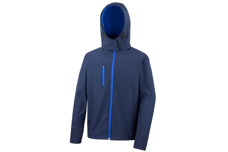Result Core Mens Lite Hooded Softshell Jacket (Navy/Royal) (3XL)