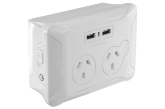 Clip Over Wall Plate With USB Double Gpo Night Light AC