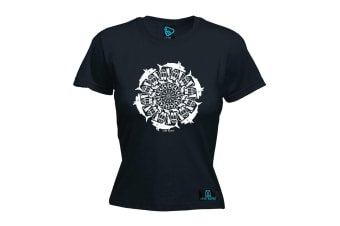 Open Water Scuba Diving Tee - Eye Of The Shark Diver - (Medium Black Womens T Shirt)