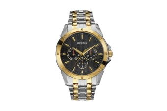 Bulova Men's 43mm Analog Quartz Classic Watch with Day, Date &  12/24hr Time - Two-Tone Stainless Steel/Black (98C120)