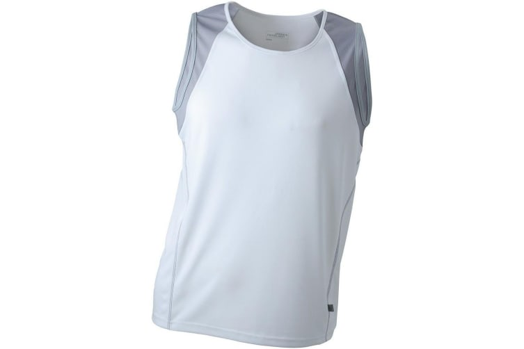 James and Nicholson Mens Running Tank Top (White/Silver) (M)