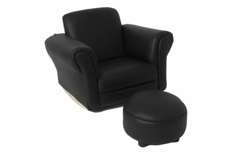 Surprising Valco Baby Kiddy Sofa Kids Couch Seat W Ottoman Foot Rest Lounge Chair Black Machost Co Dining Chair Design Ideas Machostcouk