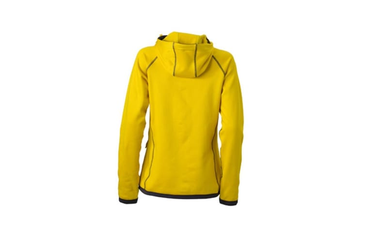 James and Nicholson Womens/Ladies Hooded Fleece (Yellow/Carbon) (XXL)
