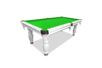 7FT Luxury Slate Pool Table Solid Timber Billiard Table Professional Snooker Game Table with Accessories Pack, White Frame / Green Felt