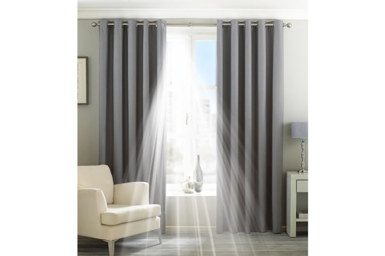 Riva Home Eclipse Blackout Eyelet Curtains (Silver) (90 x 72in (229 x 183cm))