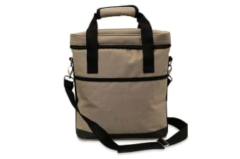 Karlstert Premium 3 Bottle Insulated Tote Carrier Wine Outdoor Travel Bag Brown