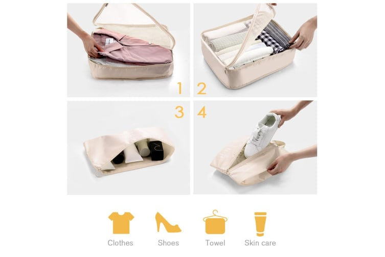 8 Pcs Travel Packing Cubes Pouches Set Clothes Organiser Luggage Suitcase Storage Bags - Beige