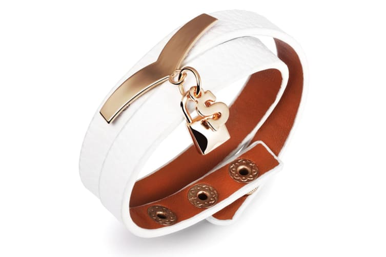 Genuine Cow Leather Wrap Bracelet With Letter 'S'-Leather/White