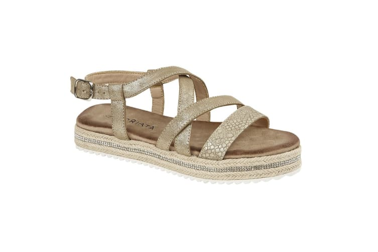 Cipriata Womens/Ladies Carina Crossover Buckle Sandals (Gold Metallic) (3 UK)