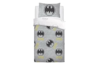 Batman Grey Logo Rotary Duvet Set (Black/Grey)