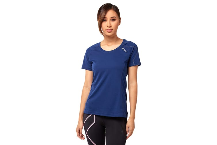 2XU Women's Active Run Tee (Navy/Navy, Size M)