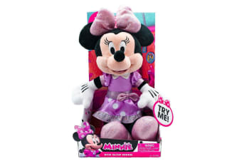 Minnie Bow Glow Plush with Pink Top and Purple Skirt